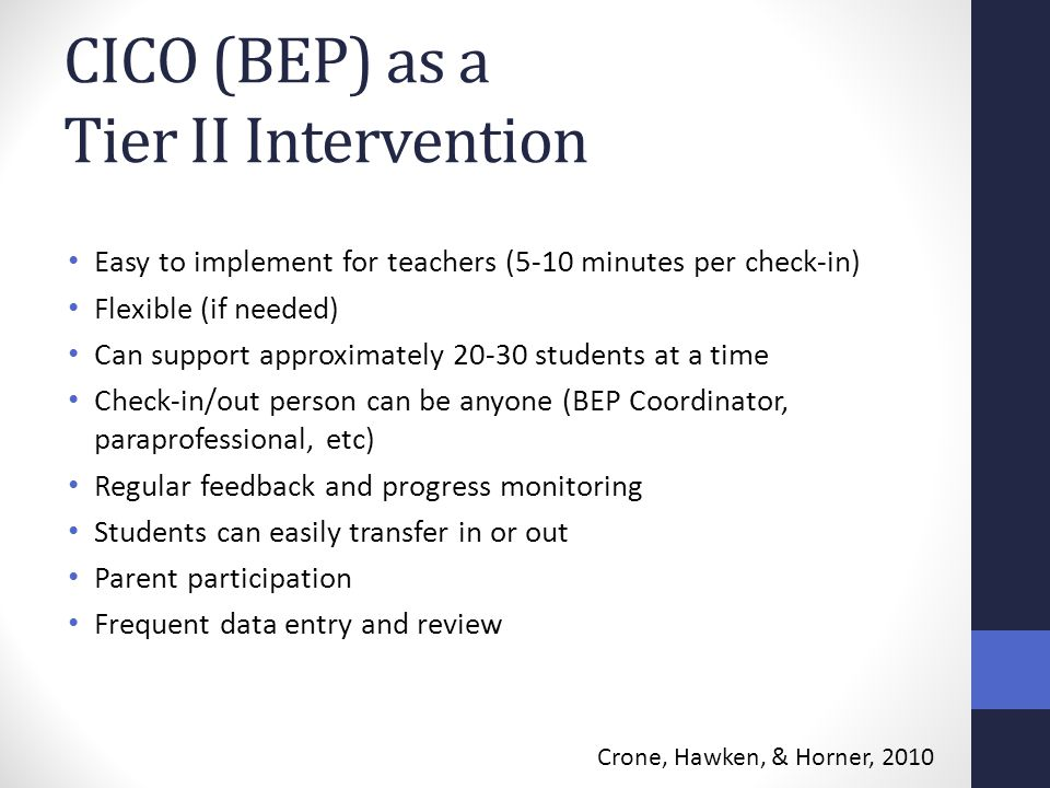 CICO (BEP) as a Tier II Intervention