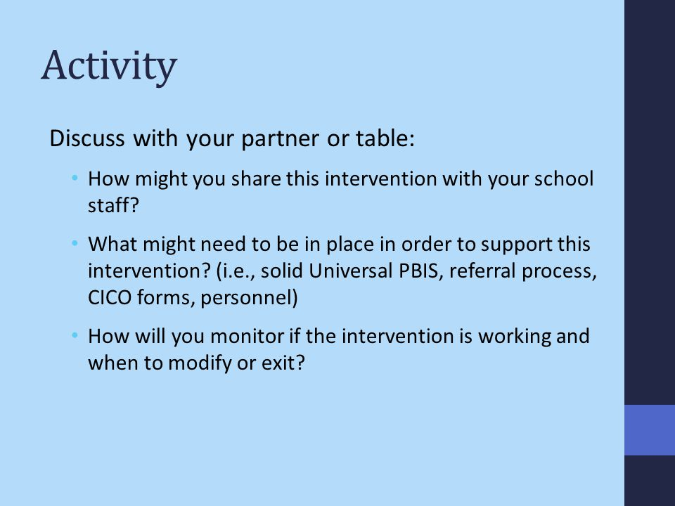 Activity Discuss with your partner or table:
