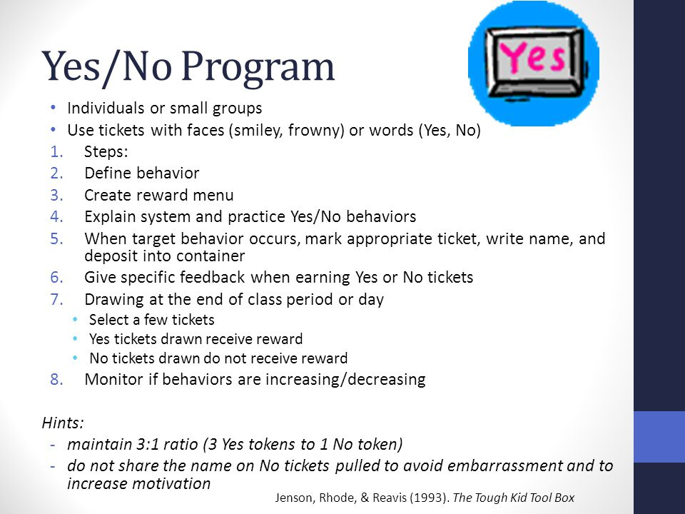 Yes/No Program Individuals or small groups