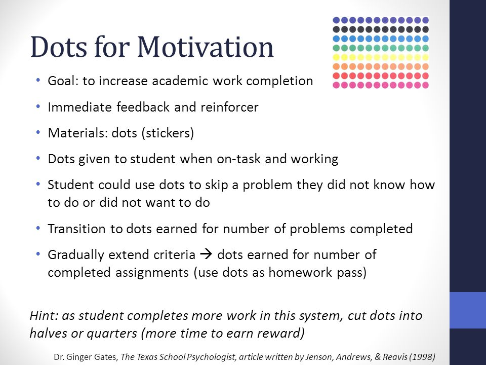 Dots for Motivation Goal: to increase academic work completion