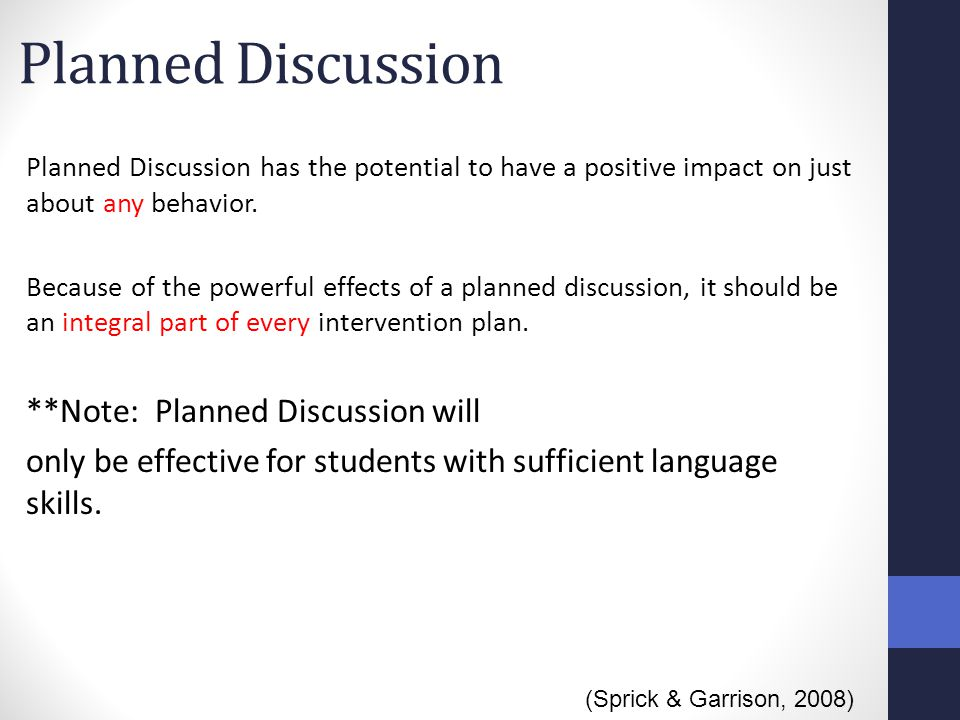 Planned Discussion **Note: Planned Discussion will