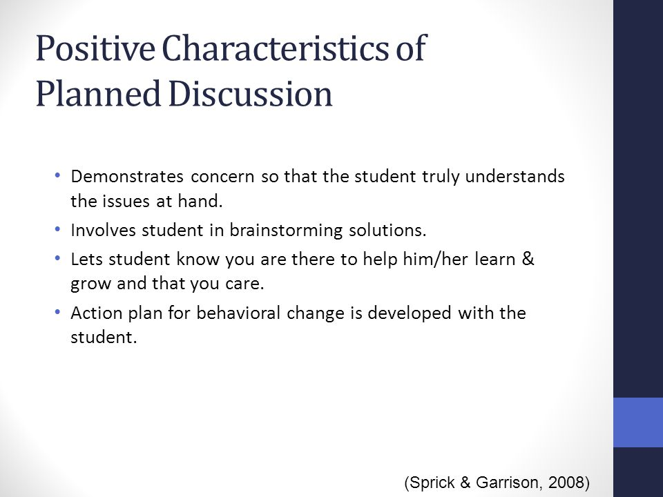 Positive Characteristics of Planned Discussion