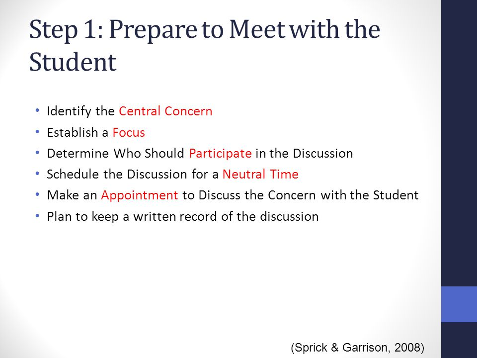 Step 1: Prepare to Meet with the Student