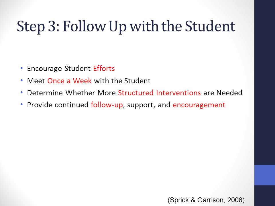Step 3: Follow Up with the Student