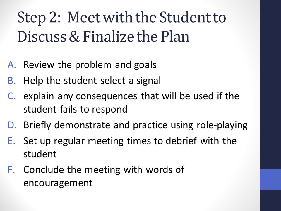 Step 2: Meet with the Student to Discuss & Finalize the Plan
