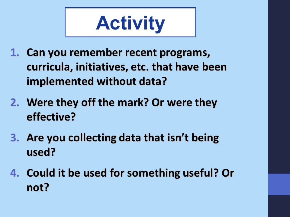 Activity Can you remember recent programs, curricula, initiatives, etc. that have been implemented without data