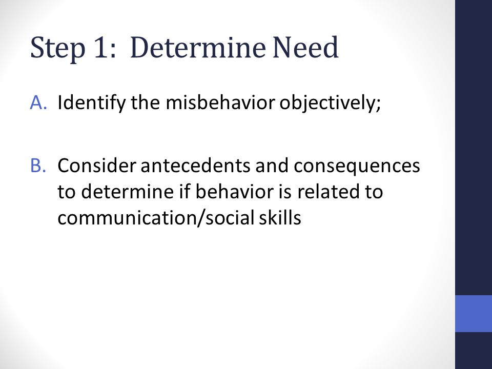 Step 1: Determine Need Identify the misbehavior objectively;
