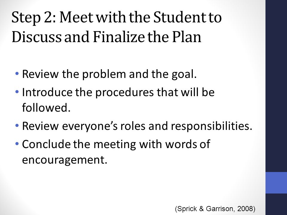 Step 2: Meet with the Student to Discuss and Finalize the Plan