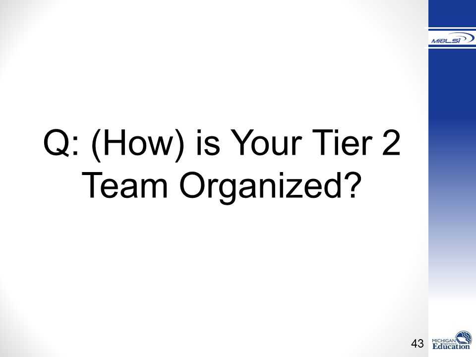 Q: (How) is Your Tier 2 Team Organized Trainer Notes: