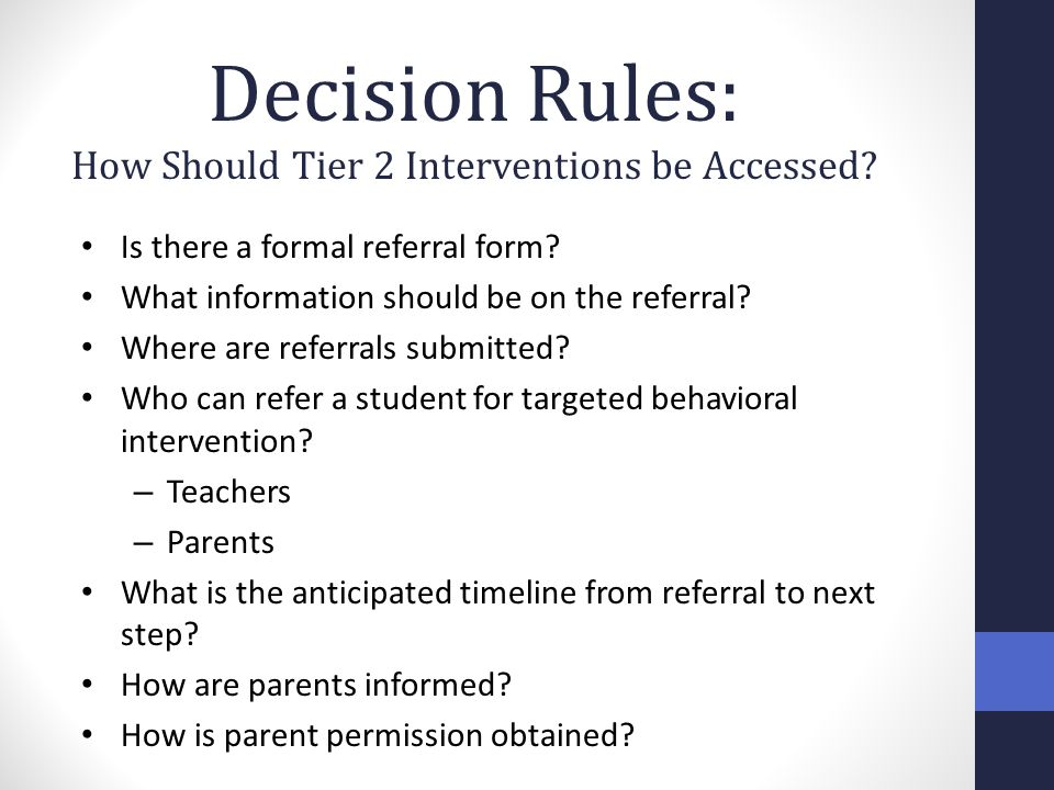 How Should Tier 2 Interventions be Accessed