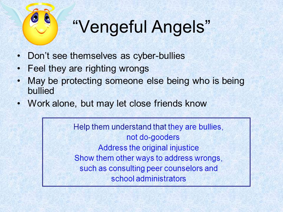 Vengeful Angels Don't see themselves as cyber-bullies