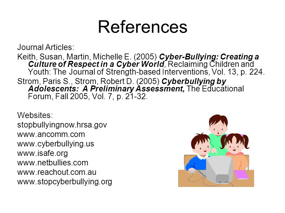 References Journal Articles: