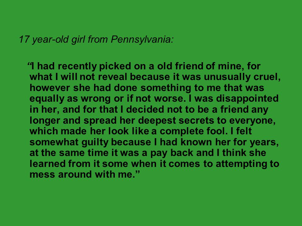 17 year-old girl from Pennsylvania: