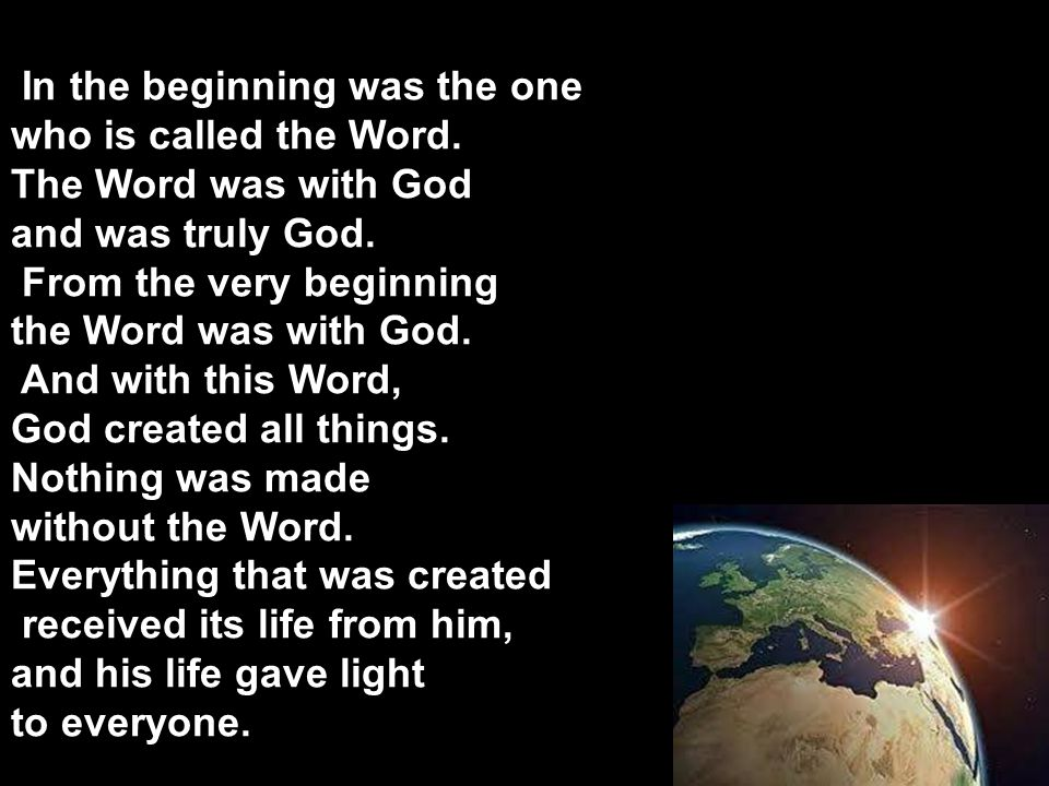 In the beginning was the one