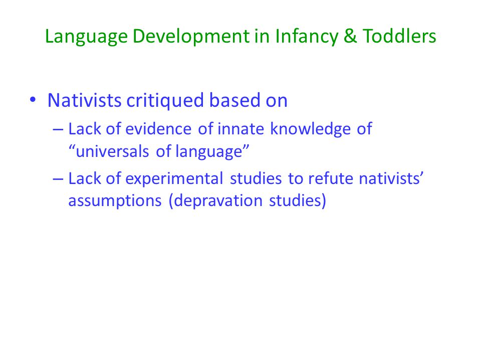 Language Development in Infancy & Toddlers