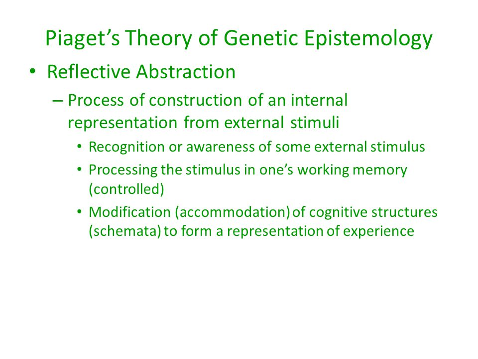 Piaget's Theory of Genetic Epistemology