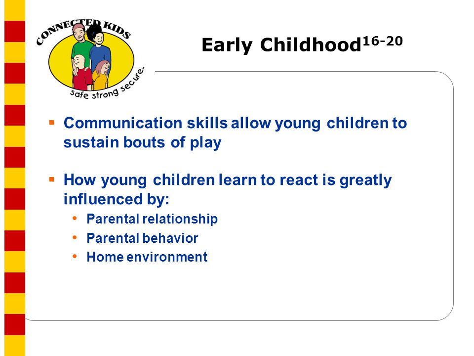 Early Childhood16-20 Communication skills allow young children to sustain bouts of play. How young children learn to react is greatly influenced by: