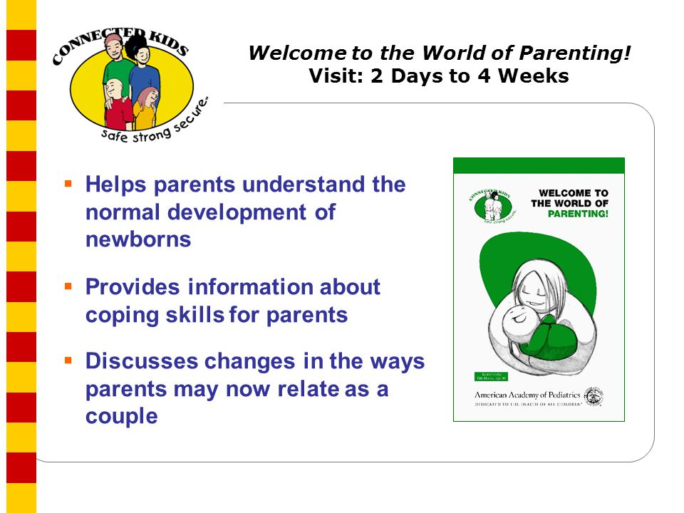 Welcome to the World of Parenting! Visit: 2 Days to 4 Weeks
