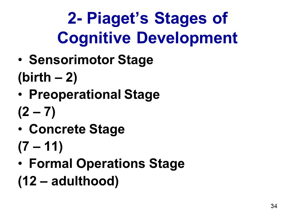 2- Piaget's Stages of Cognitive Development