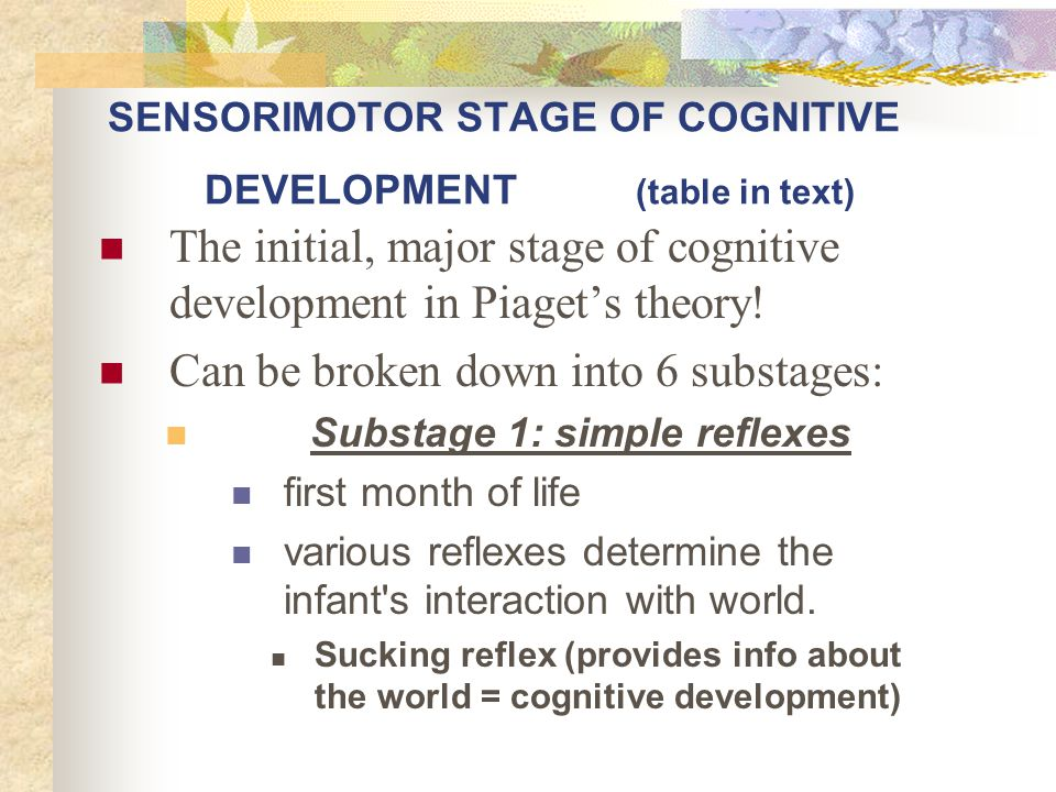 SENSORIMOTOR STAGE OF COGNITIVE DEVELOPMENT (table in text)