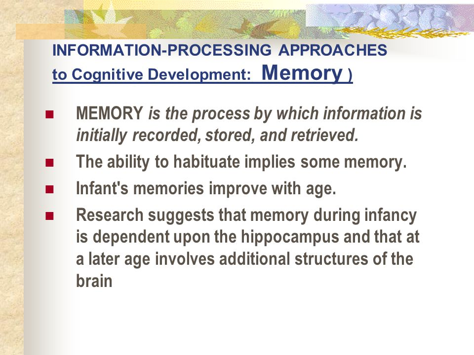 INFORMATION-PROCESSING APPROACHES to Cognitive Development: Memory )