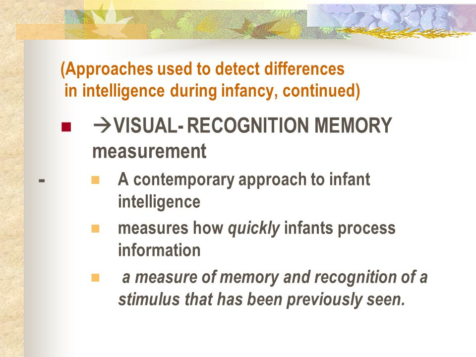 VISUAL- RECOGNITION MEMORY measurement