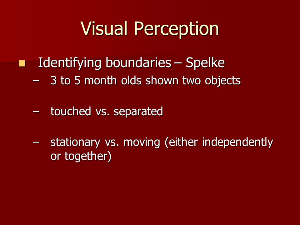 Visual Perception Identifying boundaries – Spelke