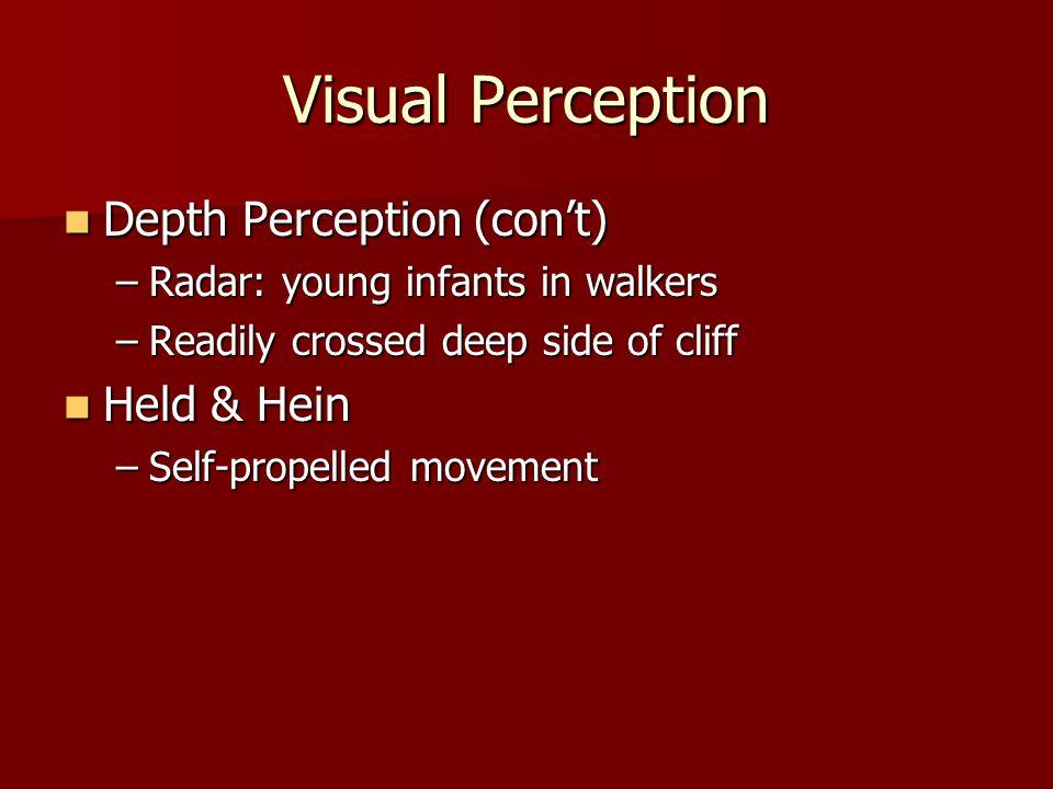 Visual Perception Depth Perception (con't) Held & Hein