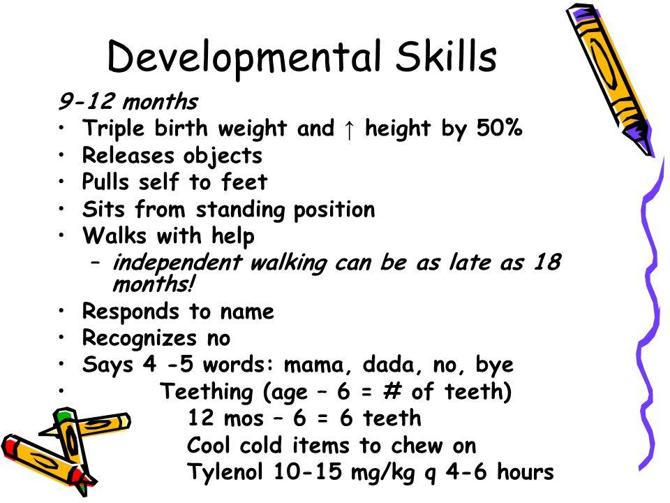 Developmental Skills 9-12 months