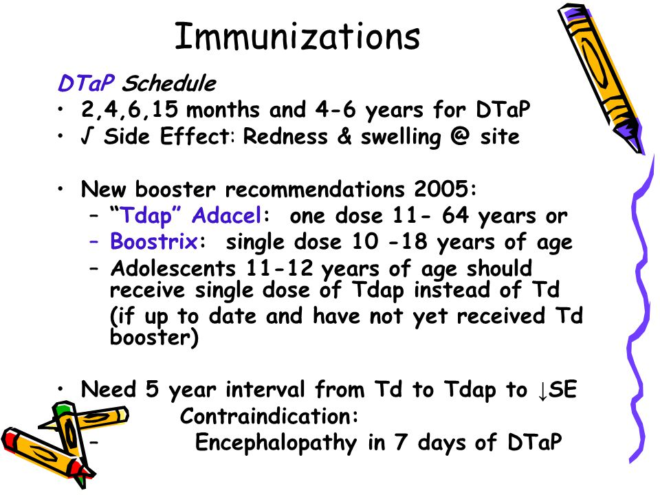 Immunizations DTaP Schedule 2,4,6,15 months and 4-6 years for DTaP