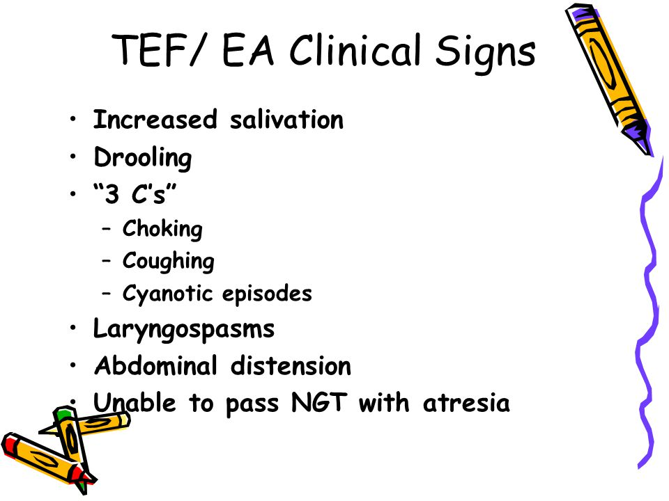 TEF/ EA Clinical Signs Increased salivation Drooling 3 C's