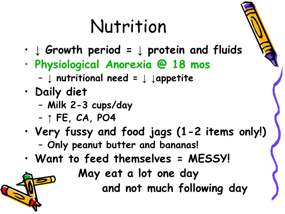 Nutrition ↓ Growth period = ↓ protein and fluids