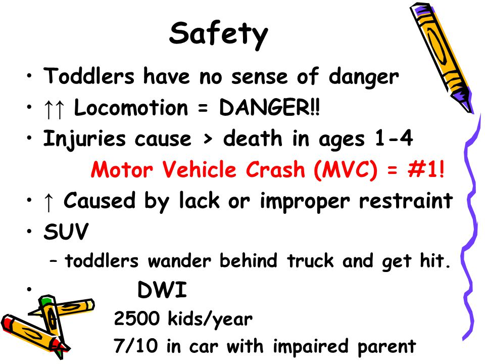 Safety Toddlers have no sense of danger ↑↑ Locomotion = DANGER!!