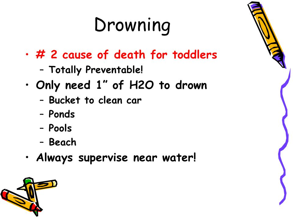 Drowning # 2 cause of death for toddlers Only need 1 of H2O to drown