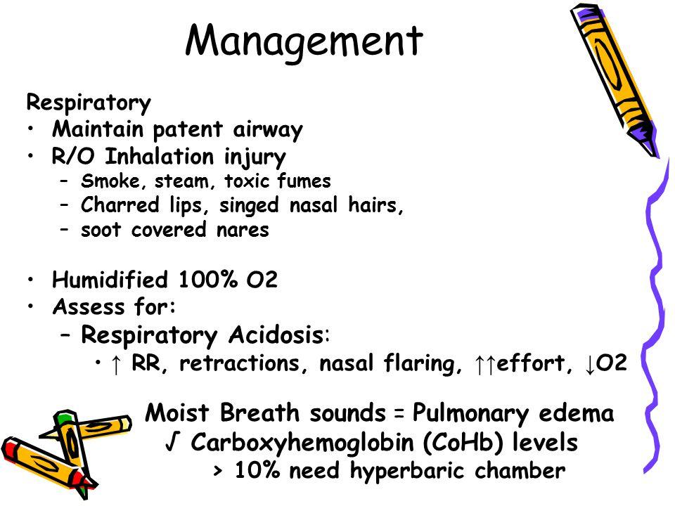 Management Respiratory Acidosis: Moist Breath sounds = Pulmonary edema