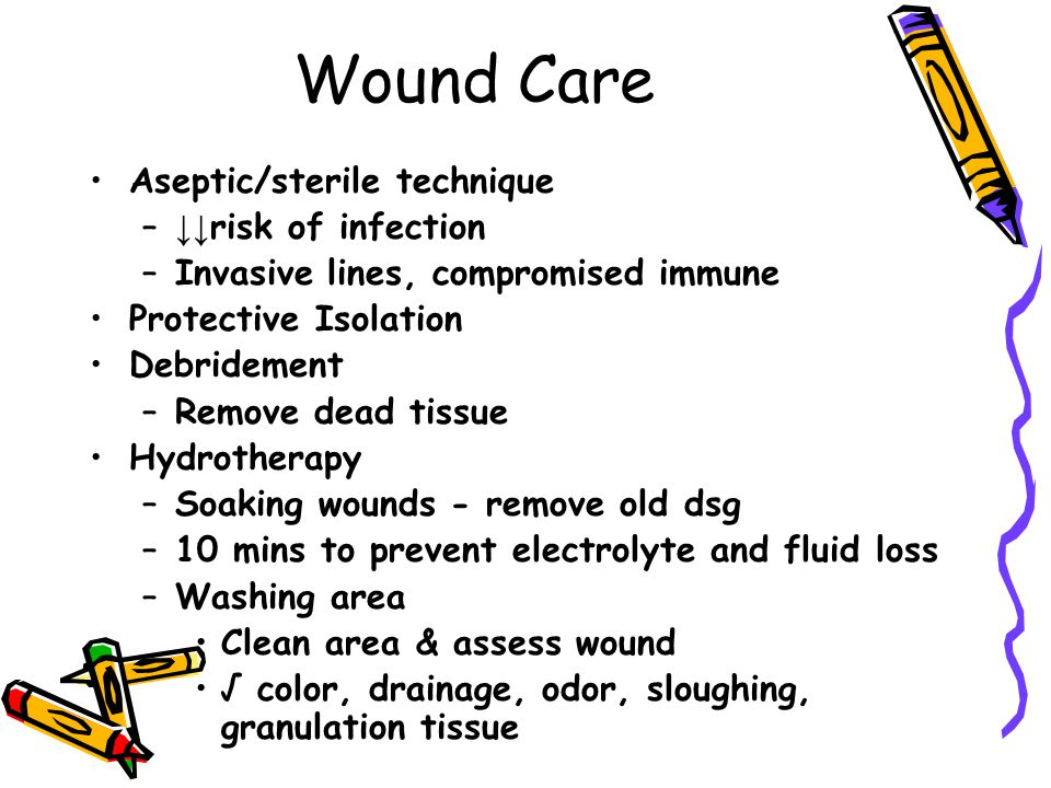 Wound Care Aseptic/sterile technique ↓↓risk of infection