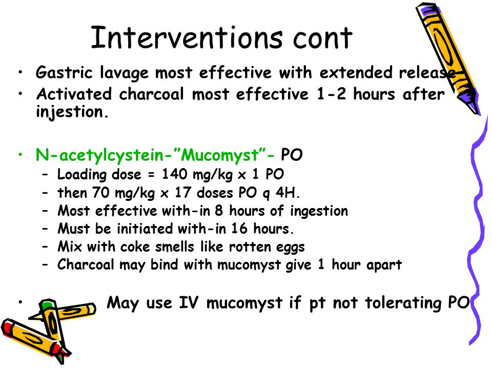 Interventions cont Gastric lavage most effective with extended release