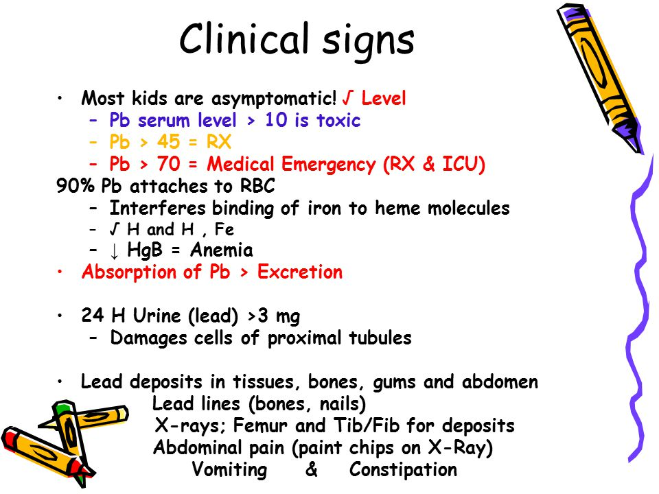 Clinical signs Most kids are asymptomatic! √ Level