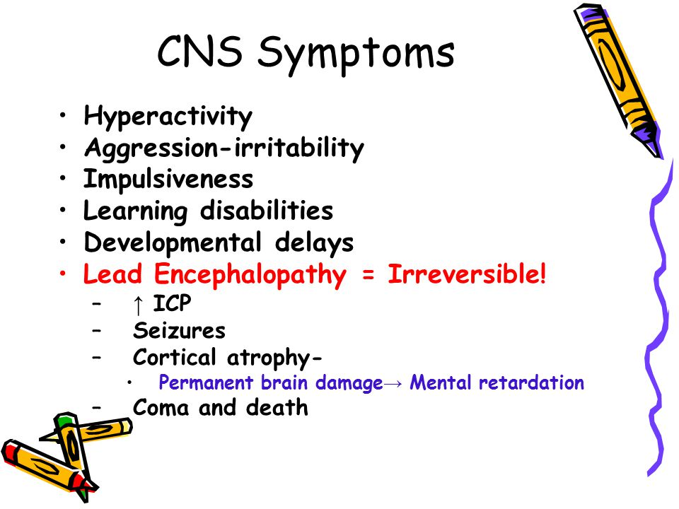 CNS Symptoms Hyperactivity Aggression-irritability Impulsiveness