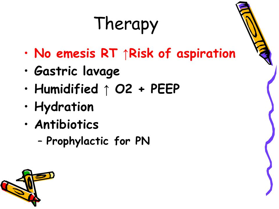 Therapy No emesis RT ↑Risk of aspiration Gastric lavage