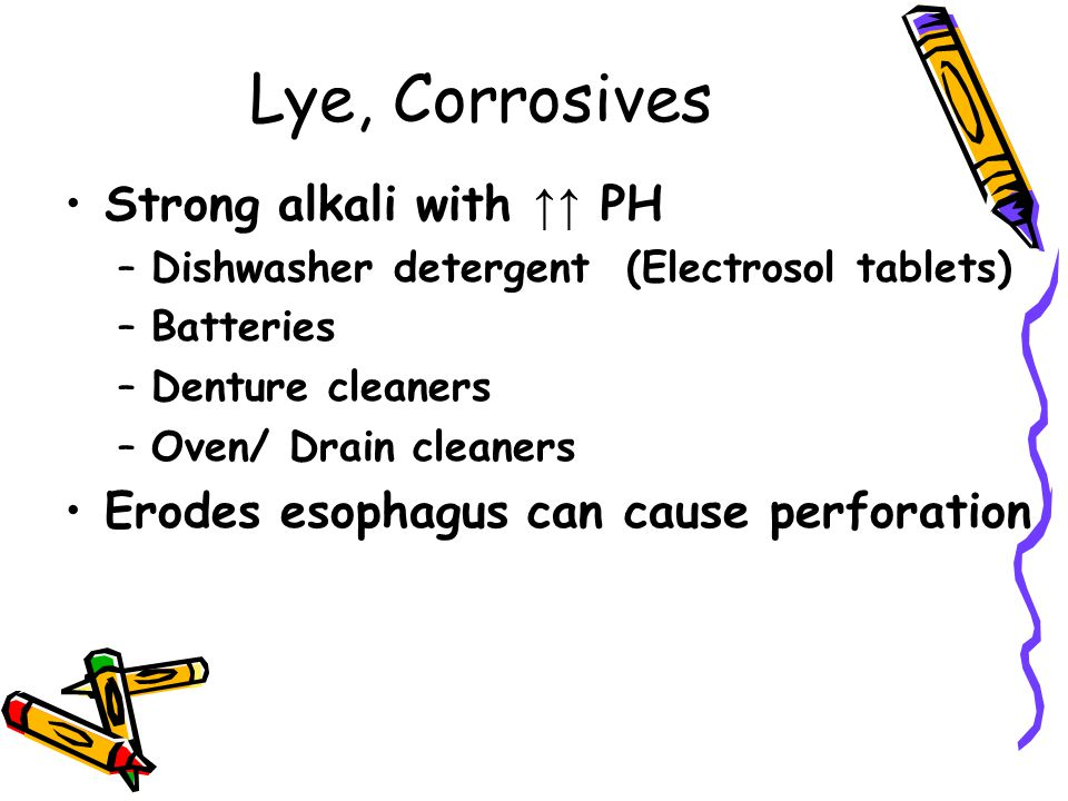Lye, Corrosives Strong alkali with ↑↑ PH