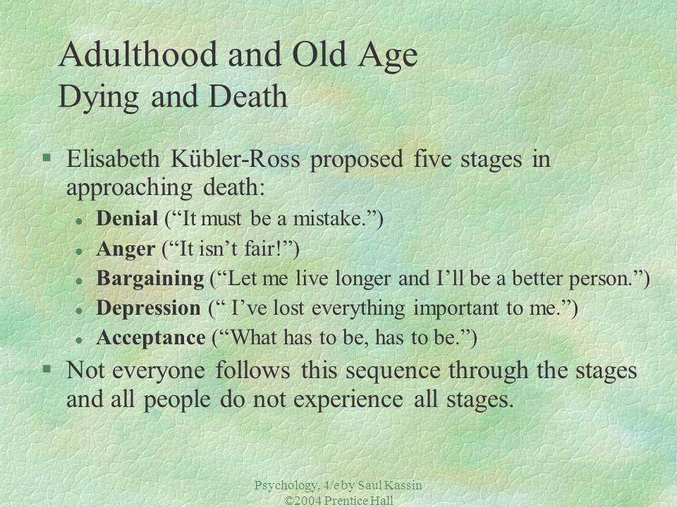 Adulthood and Old Age Dying and Death