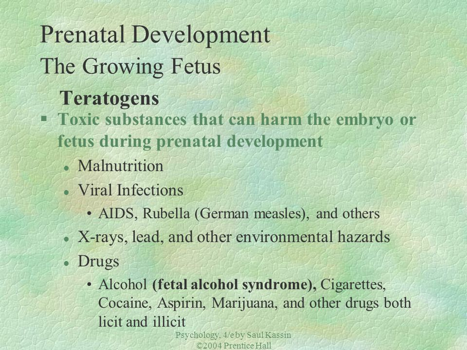Prenatal Development The Growing Fetus Teratogens