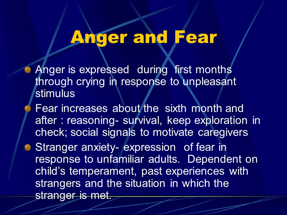 Anger and Fear Anger is expressed during first months through crying in response to unpleasant stimulus.