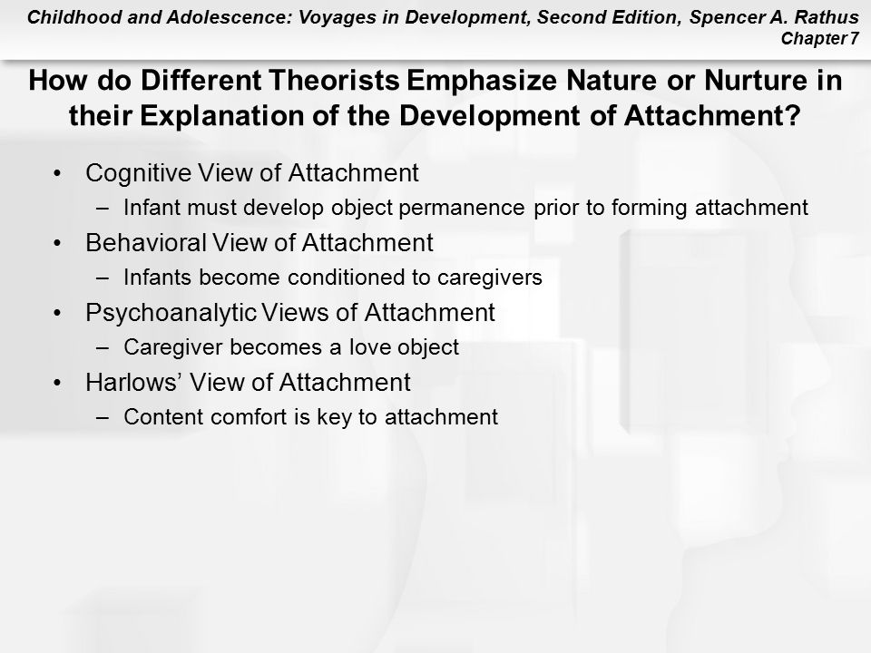 How do Different Theorists Emphasize Nature or Nurture in their Explanation of the Development of Attachment