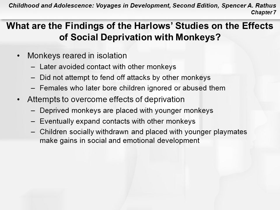 What are the Findings of the Harlows' Studies on the Effects of Social Deprivation with Monkeys