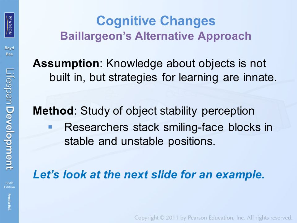 Cognitive Changes Baillargeon's Alternative Approach