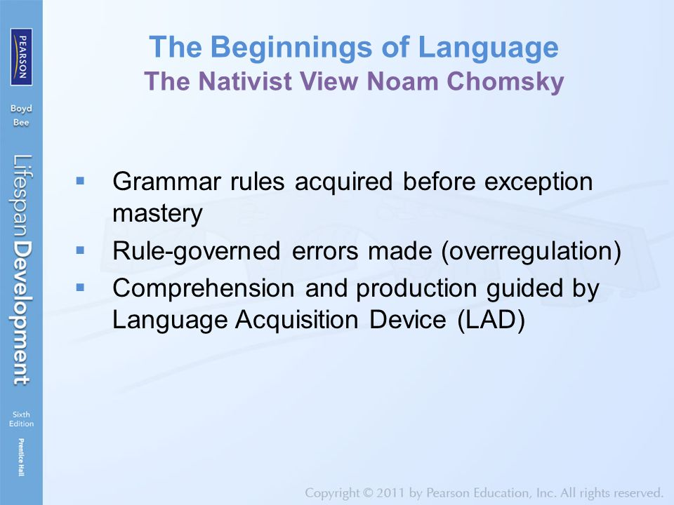 The Beginnings of Language The Nativist View Noam Chomsky