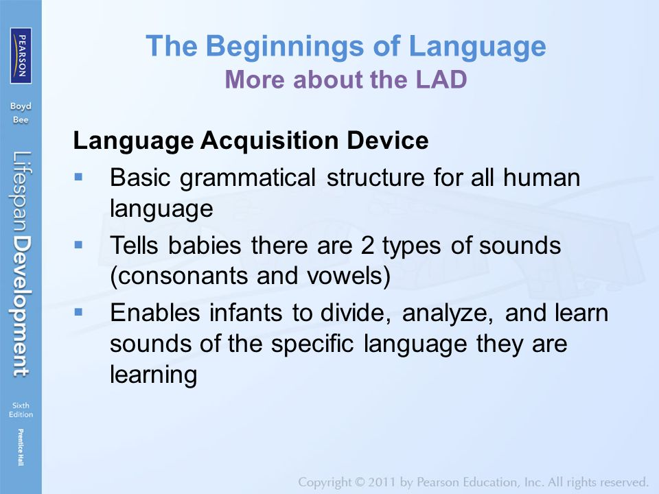 The Beginnings of Language More about the LAD