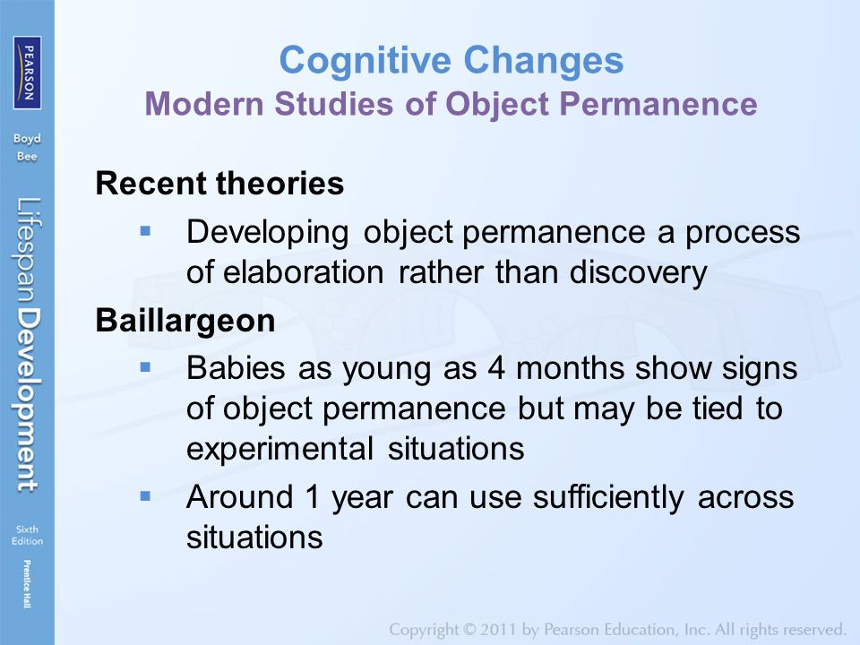 Cognitive Changes Modern Studies of Object Permanence
